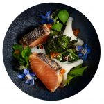 """Maträtt med odlad regnbåge producerad av företaget Älvdalslax, som är partner inom projektet """"5 ton grön fisk i disk"""". Foto: Salt Food & Communication/Sara Danielsson"""